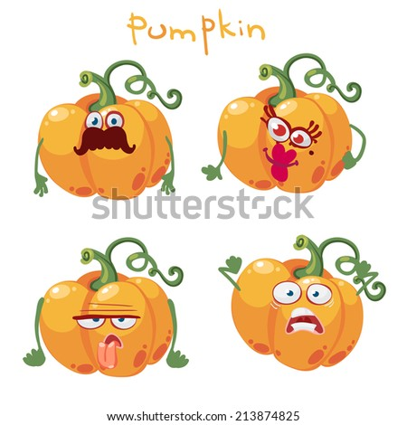 Cartoon character with many expressions of pumpkin - stock vector