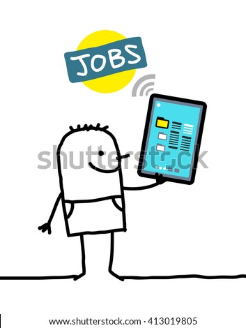 cartoon character with tablet - jobs - stock vector