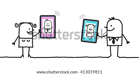 cartoon character with tablet - meeting - stock vector