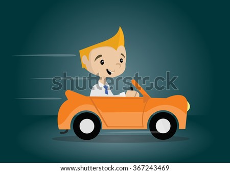 Cartoon character young businessman driving a cabriolet car, vector eps10 - stock vector