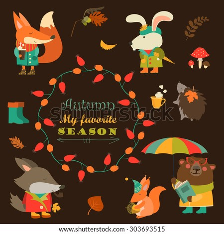 Cartoon characters and autumn elements. Vector collection - stock vector