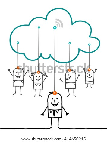 cartoon characters and cloud - connected - stock vector