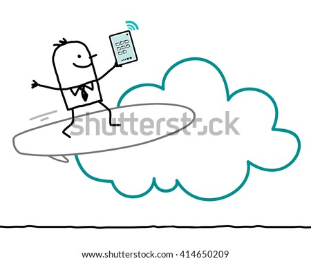cartoon characters and cloud - surf - stock vector