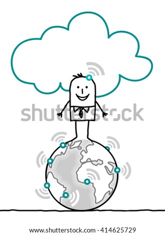 cartoon characters and cloud - world - stock vector