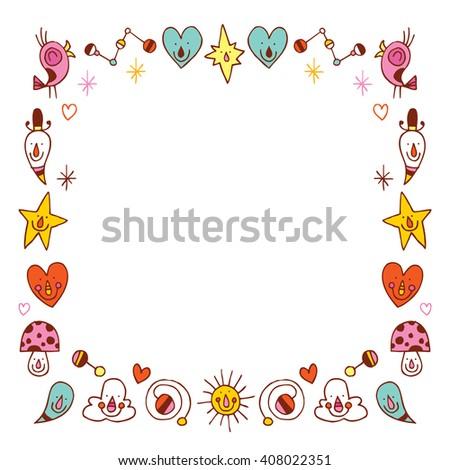 cartoon characters border frame design elements - stock vector