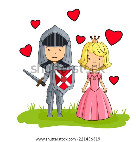 Cartoon characters knight and princess in love - stock vector