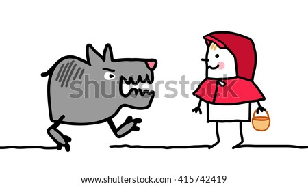 cartoon characters - little red riding hood - stock vector