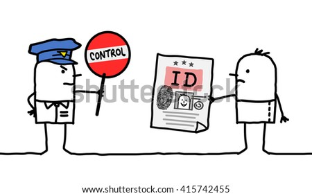 cartoon characters - police control - identity - stock vector