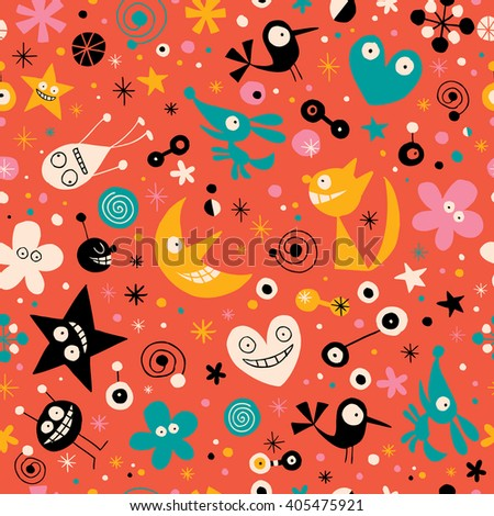 cartoon characters seamless pattern - stock vector