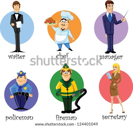 Cartoon characters secretary, manager, chef, policeman, fireman, waiter - stock vector