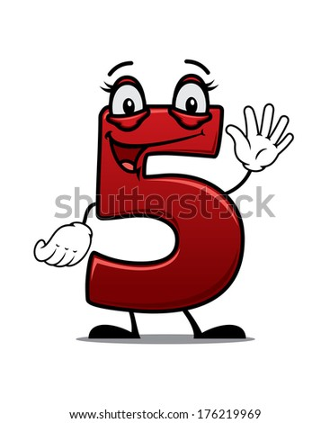 Cartoon cheeky waving number 5 with a happy smile suitable for kids birthday elements isolated on white