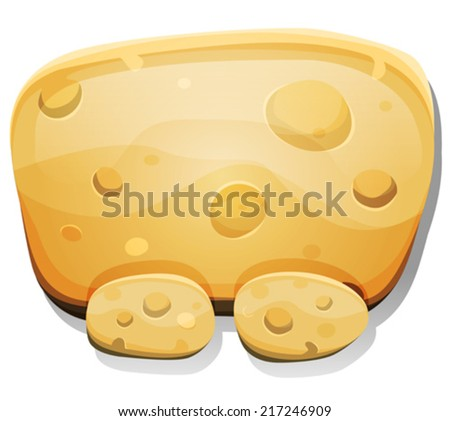 Cartoon Cheese Sign For Ui Game/ Illustration of a cartoon funny cheese food dashboard sign with buttons, for ui game software or commercial agreement on tablet pc devices - stock vector