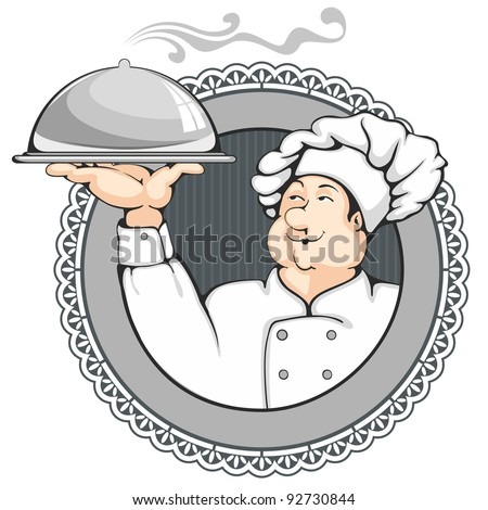 Cartoon chef carrying dinner plate with perfect meal.  sc 1 st  Shutterstock : dinner plate cartoon - Pezcame.Com