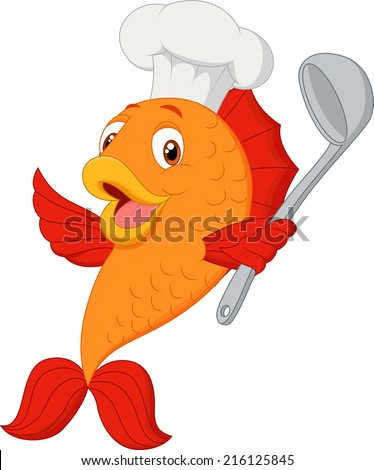 Cartoon chef fish holding soup ladle - stock vector