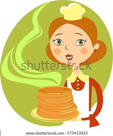 Cartoon chef girl with pancakes - stock vector