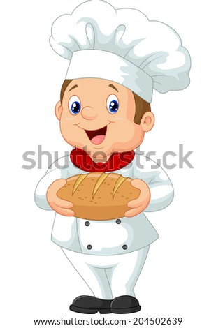 Cartoon chef holding a loaf of bread - stock vector