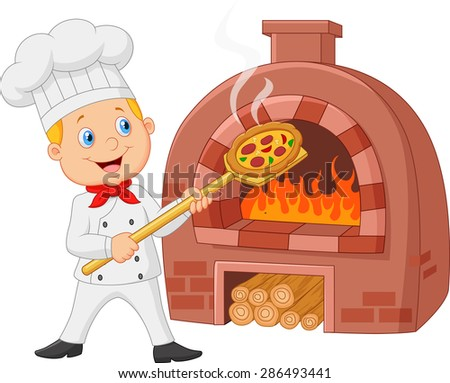 Cartoon chef holding hot pizza with traditional oven - stock vector
