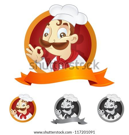 cartoon chef illustration with ribbon copyspace - stock vector