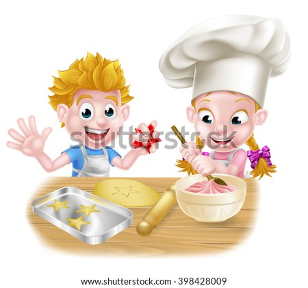 Cartoon chef kids baking and cooking desserts in the kitchen