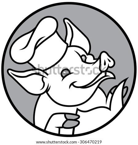 Cartoon chef pig with restaurant menu - stock vector