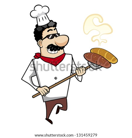 Cartoon chef with freshly baked bread vector illustration.
