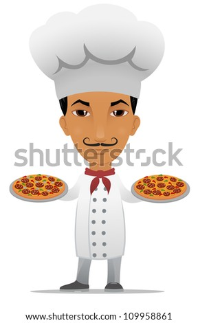 Cartoon chef with two pizzas
