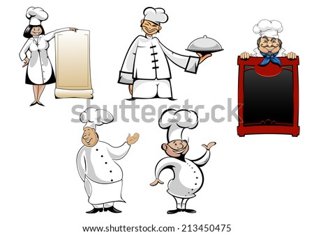 Cartoon chefs and  cooks characters set. With menu board, cook toque and tray or dish for cooking, gastronomy, cafe and restaurant design - stock vector