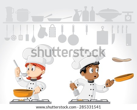 Cartoon chefs cooking gourmet food on white kitchen. - stock vector