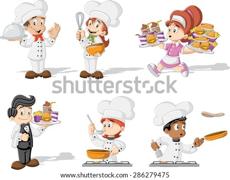 Cartoon chefs cooking, waitress and waiter holding tray with fast food. - stock vector