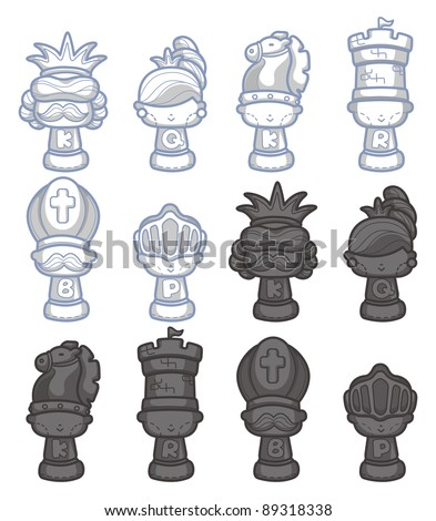 cartoon chess isolated - stock vector