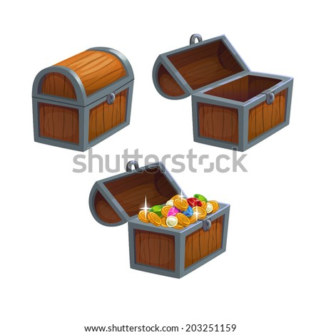 Cartoon chest in three positions, isolated vector - stock vector