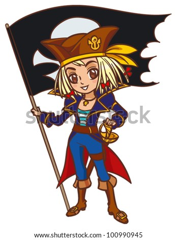 Cartoon chibi captain pirate girl with pirate flag - stock vector