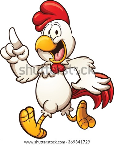 Cartoon chicken walking. Vector clip art illustration with simple gradients. All in a single layer. - stock vector