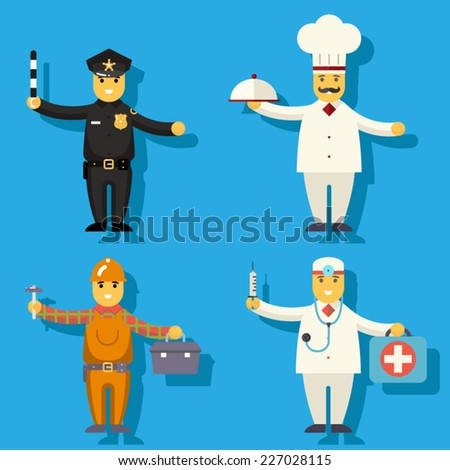 Cartoon Chief Cook Worker Repairer Police Officer Doctor Medic Character Symbol Icon Flat Design Vector Illustration - stock vector