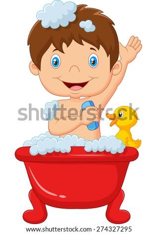 Cartoon child taking a bath - stock vector