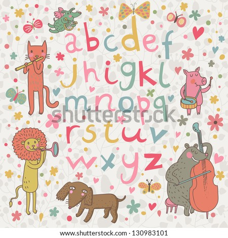 Cartoon childish alphabet with animals in funny style. Funny cartoon illustration in vector with all english handwritten letters.