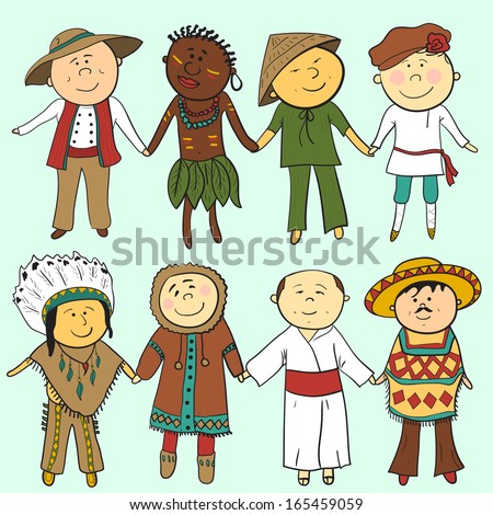 Cartoon children  in different traditional costumes, vector set