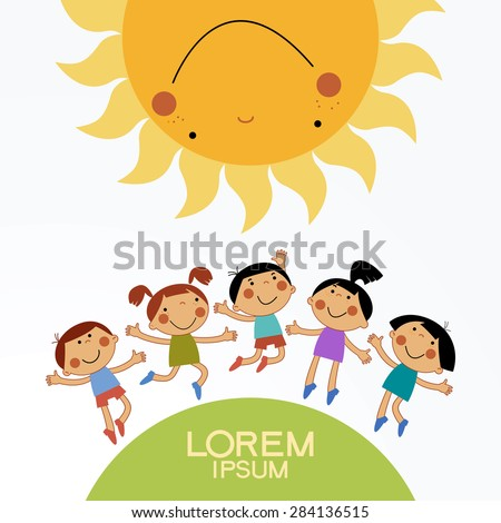 Cartoon children playing in the sun. 