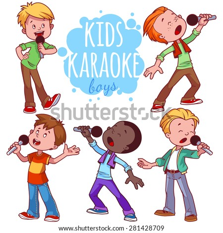 Cartoon children sing with a microphone. Vector clip art illustration on a white background. - stock vector