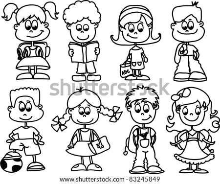 cartoon children, students