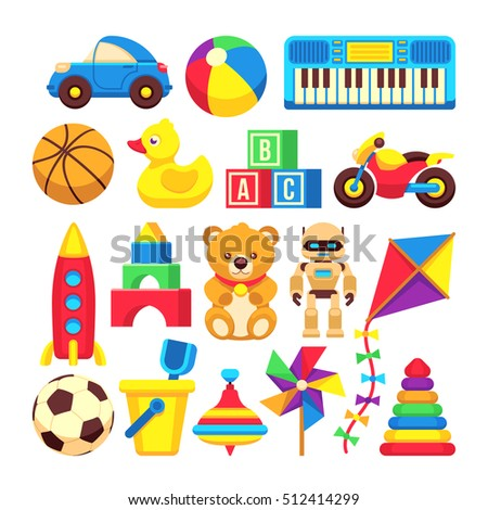 Cartoon children toys vector icons isolated on white