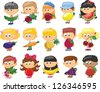Cartoon children with fruits and vegetables - stock vector