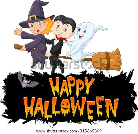 Cartoon children with ghost fly using broom - stock vector