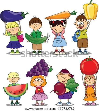 Cartoon children with vegetable and fruits