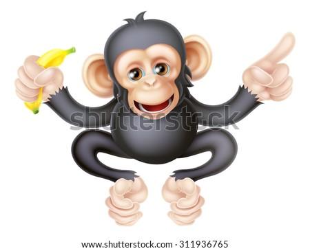 Cartoon chimp monkey like character mascot holding a banana and pointing - stock vector