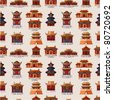 cartoon Chinese house seamless pattern - stock photo