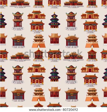 cartoon Chinese house seamless pattern - stock vector