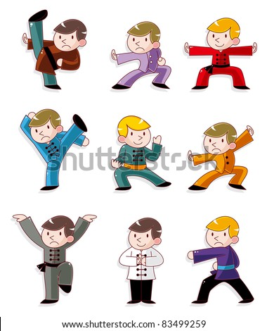 cartoon chinese Kung fu icon - stock vector