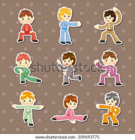 cartoon chinese Kung fu stickers - stock vector