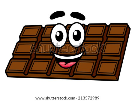 Cartoon chocolate character with face, eyes, mouth and smile. Isolated on white background. Suitable for cafe, candy and food design - stock vector